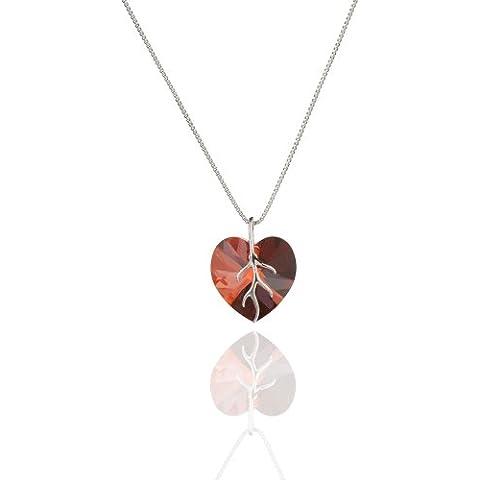 Collana in argento 925 con passante per penna e cristalli SWAROVSKI a forma di cuore Crystal Red Magma
