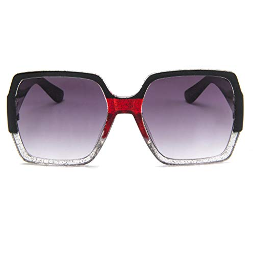 Sonnenbrille, quadratisch, klein, Unisex, leicht, modisch, Retro-Brillenrahmen, C (Dunkle Schwarze Sonnenbrille, Linse Frauen)