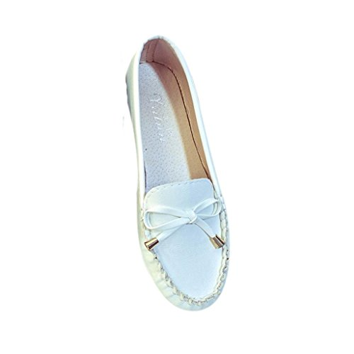 Klassische Ballerinas Damen Schuhe Freizeit Schuhe Brautschuhe Geschlossene Elegante Slippers Stoffschuhe Spitze Schuhspitze Abendschuhe Party Schuhe Geschlossene Tanzschuhe LMMVP (38EU, Weiß)