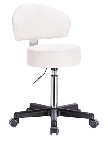1stuff® Profi Rollhocker Rollstuhl Squash - 35cm Sitzbreite - bis 180kg - Sitzhöhe bis ca. 70cm - Arzthocker Arbeitshocker Bürohocker Drehhocker (Lederimitat weiß - Lehne Bigback 1) -