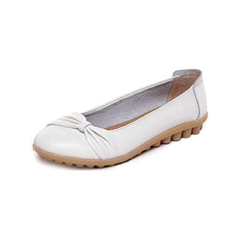 JRenok Loafers Women Leisure Sandals Flats Bean Soft Bottom Leather Shoes Boat Casual Breather White 38 Womens White Patent Plattform