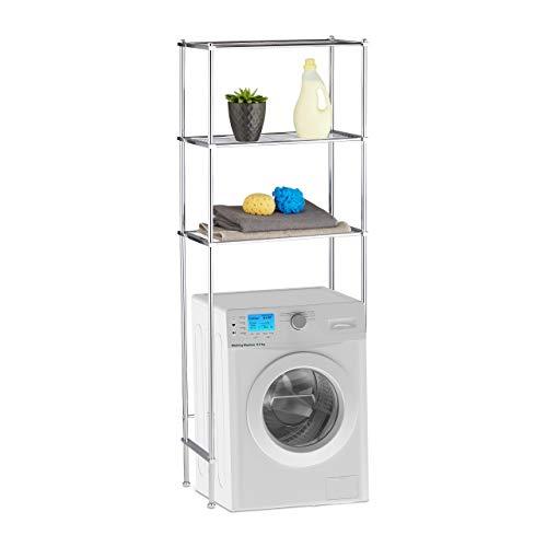 *Relaxdays Überbauregal Waschmaschine, WC-Regal mit 3 Ablagen, Waschmaschinenregal Chrom, HBT: 162 x 63 x 30 cm, Silber*
