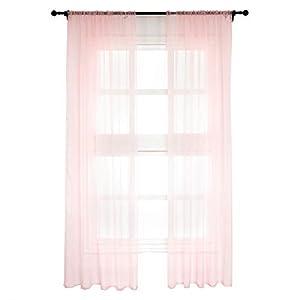 WOLTU VH5516ws-2, 2er Set Gardinen Vorhänge transparent mit Kräuselband Stores für Schiene, Doppelpack Fensterschal…