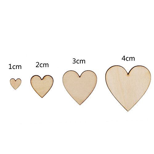 CCINEE 100 Pieces Natural Wooden Hearts Wooden Embellishments Wooden Crafts Christmas Hanging Decorations