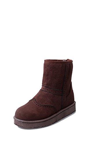 SQIAO-X- Fondo piatto antiscivolo Stivali Stivali di cotone Winter Snow Boots piana spessa, avvio a caldo Brown