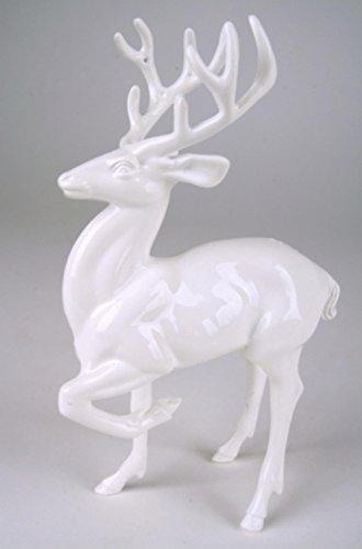 Weisse Deko Hirsch Figur stehend mit Geweih. Höhe 18cm (Hirsch-figur)
