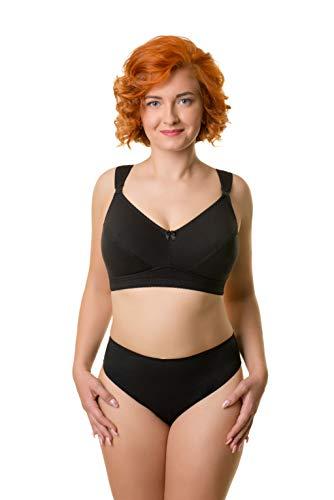 BaiBa Klassischer Schwangerschafts-/ Still-BH ohne Bügel aus Baumwolle, Größe 95G 95 G, Farbe Schwarz
