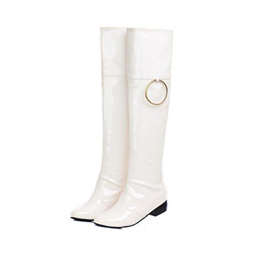 Xianshu Damen Lackleder Niedrige Ferse Stiefel Anziehen Über Das Knie Stiefel (Weiß-34 EU ) (Hoch Braun Ferse Knie)