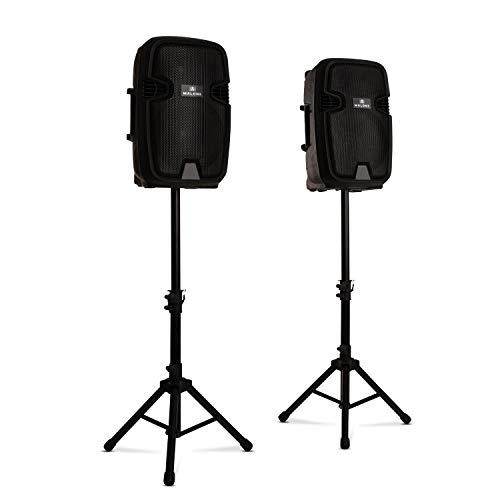 """Malone Combo 1 • PA-Lautsprecher Set • 2-Wege-Lautsprecher • Bluetooth • 12\"""" (30 cm) • aktiv und passiv • max. 700 Watt • inkl. 2 x Boxenständer • schwarz"""