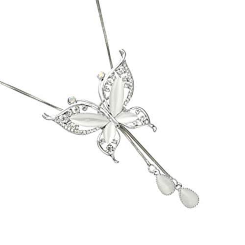 Lorsoul Frauen-Schmetterlings-Form Hals-Anhänger Mädchen Pullover Halskette Lange Quaste Kette Schmuck Geburtstags-Geschenk