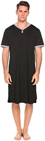 Ekouaer Men's Nightshirt Nightwear Comfy Big&Tall Short Sleeve Henley Sle