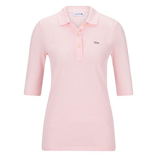 (Lacoste PF5381 Klassisches Damen Polo, Polohemd, Polo-Shirt mit 3/4 Arm, Kurzarm, Regular Fit, für Freizeit und Sport, 100% Baumwolle Pink (Flamingo T03), EU 40)