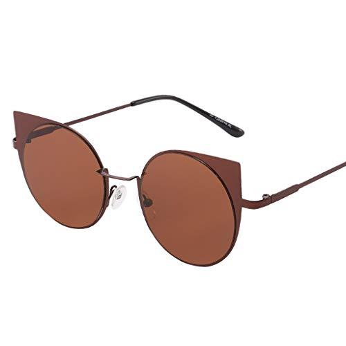 Hulky vendita moda rotondo sunglasses丨classic aviator specchio piatto lens sunglasses丨vintage forma irregolare occhiali da sole per gli uomini/donne(marrone)