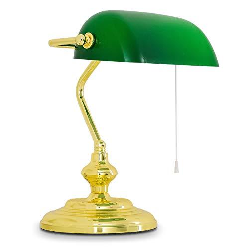 Bankerlampe Jugendstil mit grünem Glas-Lampenschirm - Standfuß aus poliertem Messing - Retro Tischlampe - Bibliotheksleuchte 20ger Jahre - E27-Fassung 60 Watt - inkl. An/Aus-Schalter - Höhe 37cm -