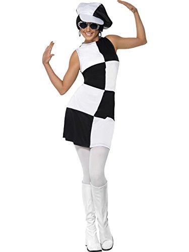 Hippiekleid schwarz weiss 60er Jahre Kleid und Hut Sixties Damen Gr. L -