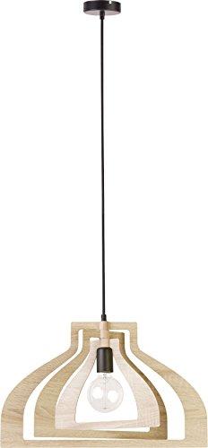 elbmöbel Pendelleuchte Holz braun im Mobilé-Stil, Hängeleuchte modernes Holz Design nordischen Stil 52cm Durchmesser E27 schwarzes Textilkabel PAUL (Eiche -3 Lamellen) - Metall-lamelle