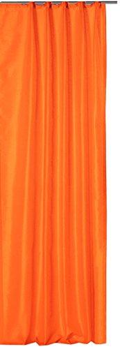 Preisvergleich Produktbild Haus und Deko Alaska Thermovorhang blickdicht mit Kräuselband aus Polar Fleece luxuriöse Breite 250x245 cm orange hell