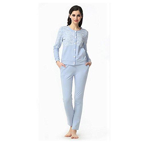 CHUNHUA Mme modal à manches longues cardigan imprimé pyjama survêtement , purple , xxl (170/92a) Light Blue