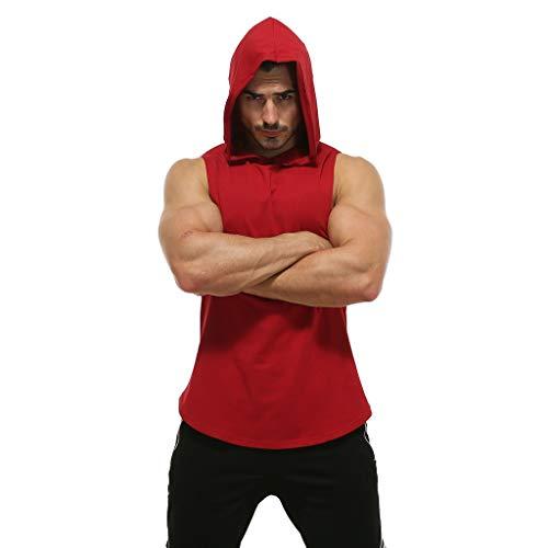 Luckycat Tank Top Herren Slim Fit Basic T-Shirt Tankshirt Mit Kapuze Ärmellos Muskelshirt Fitness Unterhemden Kapuzenshirt Stringer Tank Top Herren mit Kapuze Bodybuilding Fitness Gym Sport Hemd Weste