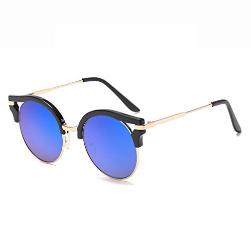DX Retro Mode Farblinse Tourismus Shopping Urlaub im Freien UV-Schutz Brillen Polarisierte Sonnenbrillen (Farbe: schwarzer Rahmen Blaue Linse)