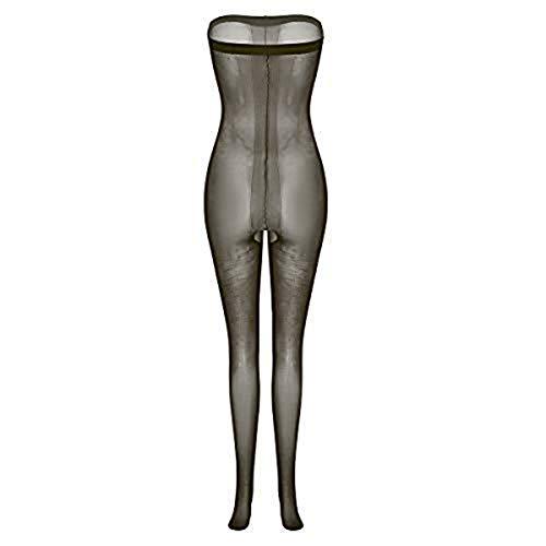 iiniim Damen Bodystocking Ouvert Strumpfhose Dessous Bodysuit Overall Reizwäsche Unterwäsche Nachtwäsche Dunkel Grau Einheitsgröße -