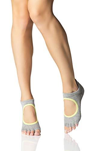 Toe Sox Damen Bella Yogasocken aus biologischer Baumwolle 5-Zehen-Design Packung mit 1 Heather Grau/Limette 43-45 - Bella Damen Heather