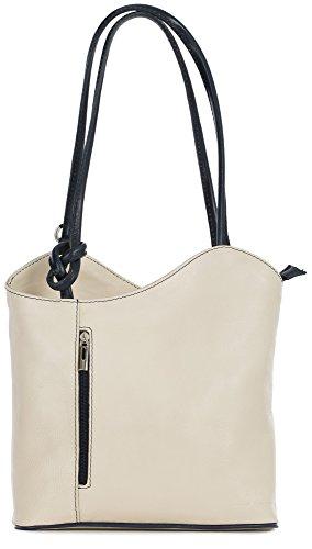 LiaTalia Damen großartige weiche italienische Leder Piping Detail Schulter oder Rucksack Tasche mit Schutztasche - Libby 2018 - (Weiches Leder) - Creme und Blau