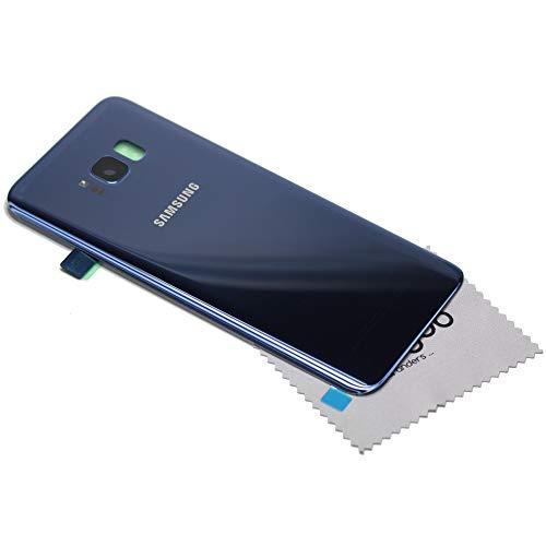 Akkudeckel für Original Samsung für Samsung Galaxy S8 Plus (G955F) Akkufachdeckel blau Blue Back Cover mit mungoo Displayputztuch Blau Back Cover
