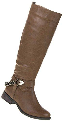 Damen Schuhe Stiefel Gefütterte Ketten Deko Boots Braun