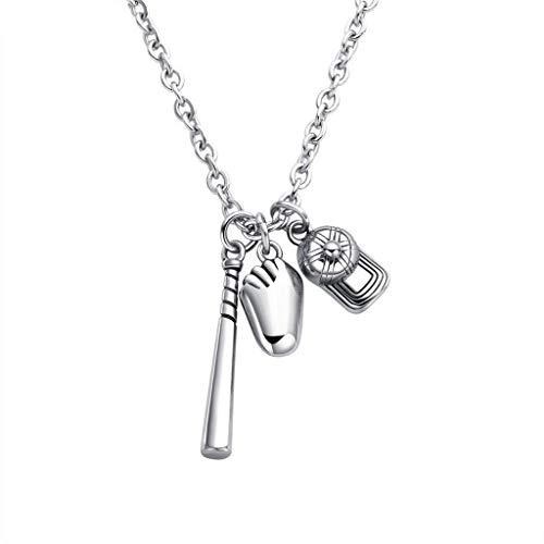 WANGLXTC Mode Titanstahl Kette, Baseball Halskette, Fashion Herren Baseball Handschuhe Hut Halskette Anhänger Exquisit, Silvery