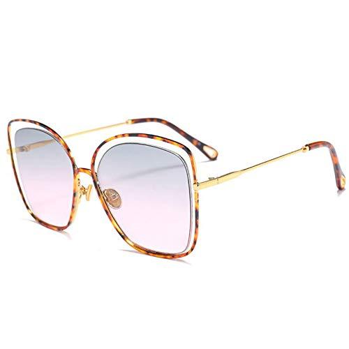 TIANKON Ausgehöhlte Katzenauge-Sonnenbrille-Frauen-Art- und Weisegradienten-Sonnenbrille-Mädchen Uv400 Sonnenbrille,Leopard-Korn-Rosad