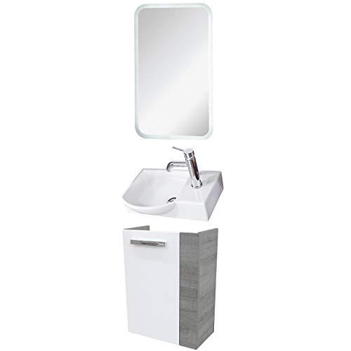 FACKELMANN Badmöbel Set A-Vero Gäste WC 3-TLG. 45 cm graueiche weiß mit Waschtisch Unterschrank & Keramikbecken & LED Spiegelelement