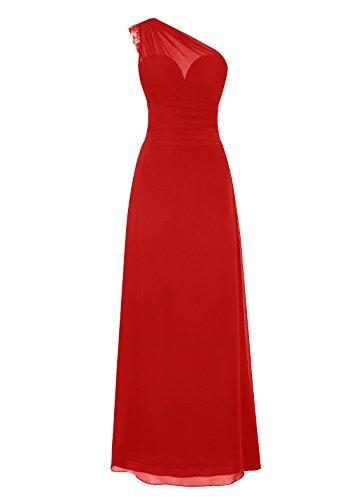 Dresstells, Une épaule robe de soirée mousseline, robe longue de cérémonie, robe longueur ras du sol de demoiselle d'honneur Rouge