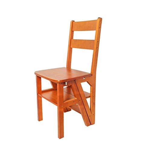 XMUEI Klappleiter Aus Holz Hocker Stuhl Dual-Use-Multifunktionskletterleiter Nach Hause 4 Bockleiter (Color : Yellow Walnut Color)