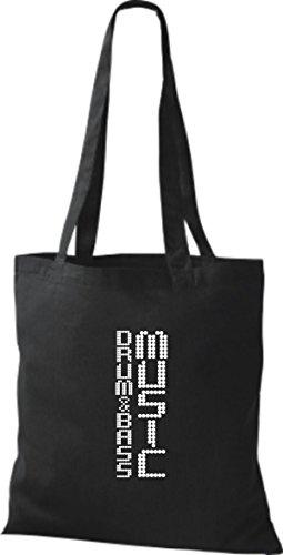 ShirtInStyle Stoffbeutel Musik Beutel Drum & Bass Music Baumwolltasche Beutel, diverse Farbe black
