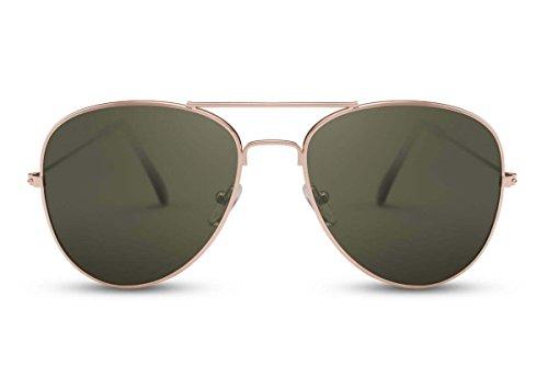 Cheapass Sonnenbrille Gold Grün Getönt UV-400 Pilot-en Flieger-Brille Top-Gun Metall Damen Herren