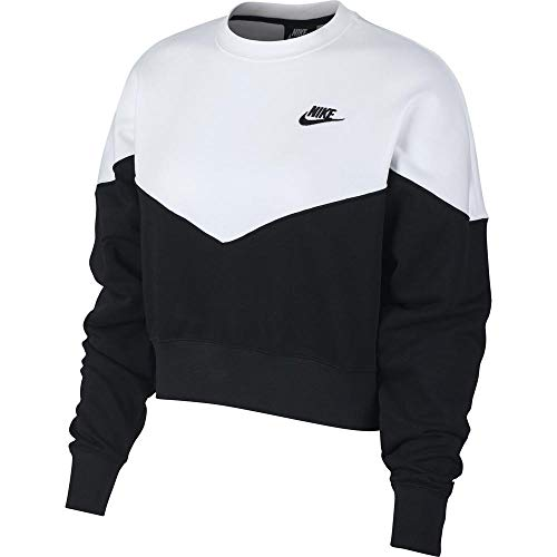 Nike Damen W NSW HRTG Crew FLC Long Sleeved T-Shirt Black/White M