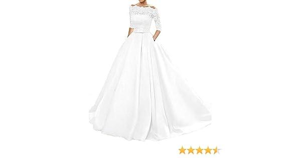 4578f34fd35ddc Changjie Damen Bateau 3/4-Arm Brautkleider Hochzeitskleider Prinzessin  Hochzeitskleider A-Linie Langarm Kleider: Amazon.de: Bekleidung