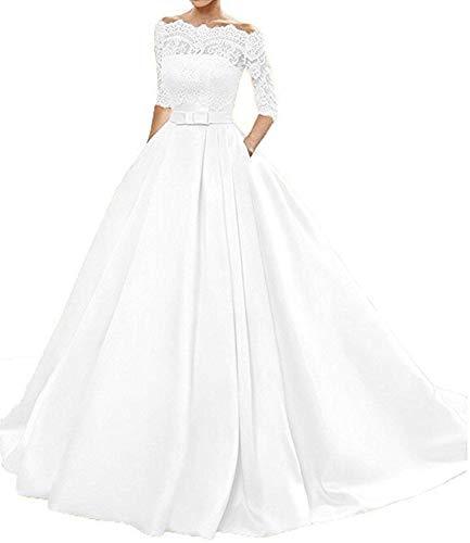 Changjie Damen Bateau 3/4-Arm Brautkleider Hochzeitskleider Prinzessin Hochzeitskleider A-Linie...