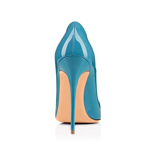 Onlymaker Damen Klassische Moderne mehrfabrige Absaetze Basische Pumpe Stiletto Glaenzendes Blue