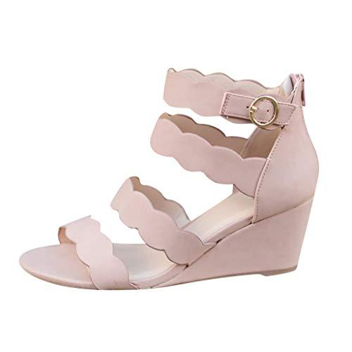 DFMNE Sandalen für Frauen Mädchen Damen Frühling Sommer Casual Hohl Bohemian Spitze Wedges mit offener Zehenschnalle Knöchel Fashion 2019, Pink - Rose - Größe: 39 EU