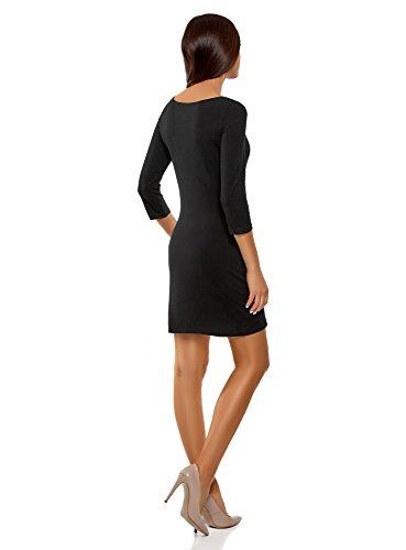 oodji Ultra Damen Baumwoll-Kleid Basic, Schwarz, DE 38 / EU 40 / M