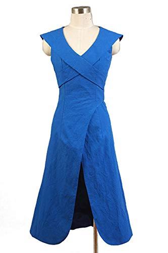 Manfis Game of Thrones Daenerys Targaryen Dress Kleid Blau Cosplay Kostüm-Daenerys Targaryen Kostüm-Mother of Dragons Cosplay Damen Kleid Halloween Fancy Dress Outfit Kleidung (Outfits Dress Halloween Fancy)