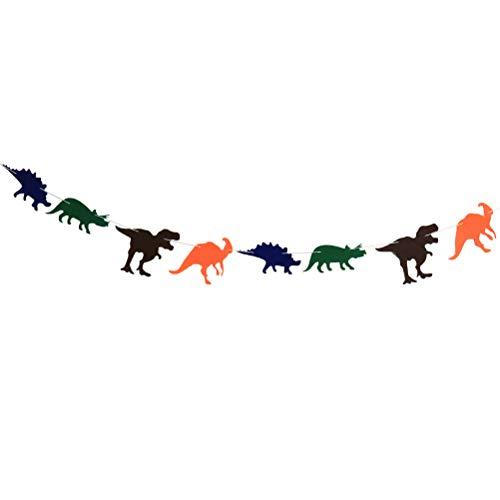 LnLyin Dinosaurier Party-Dekoration-Banner, Happy Birthday Banner, Dinosaurier, mit Tieren, für Kinder Erwachsene, Filz, mehrfarbig, Einheitsgröße