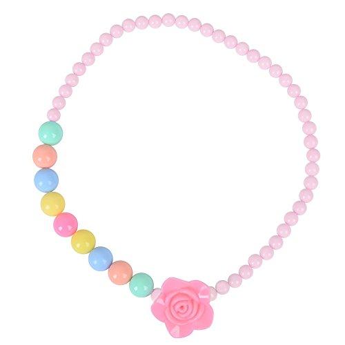 skette Mädchen Blume Perlen Halskette Kleinkind Kinder Kostüm Schmuck für Kinder (Rosa) (Prinzessin Bubblegum Kostüme Für Kinder)