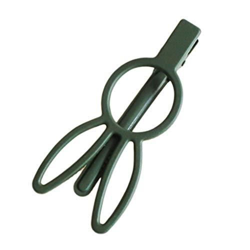 Lunji - Pinzas pelo niña 7.3x1.5cm verde oscuro