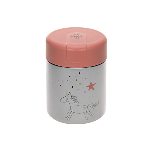 LÄSSIG Baby Kinder Thermo Warmhaltebox Brei Snacks auslaufsicher Edelstahl/Food Jar More Magic Horse, Rosa
