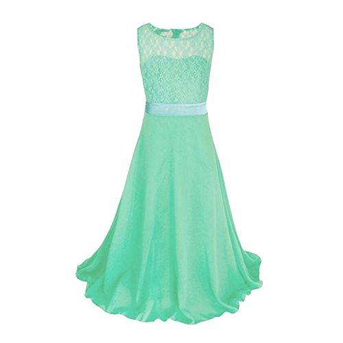 Prinzessin Kleid , Kobay Kinder Mädchen Kleider Spitze Hochzeit Brautjungfer Festzug Kleid (170, Grün) (Mädchen 10 Kleider)