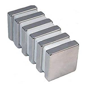 Sonal Magnetics Nickel Coated Block Magnet, 10x10x2mm, 40-Pieces