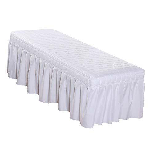 SM SunniMix Bettlaken Laken Auflage Tischrock Massagenliegenbezug für Massageliege Tisch - Weiß-185 x 70 cm (Earthlite Massagetische)